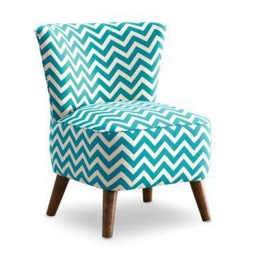 Teal and white chevron chair.