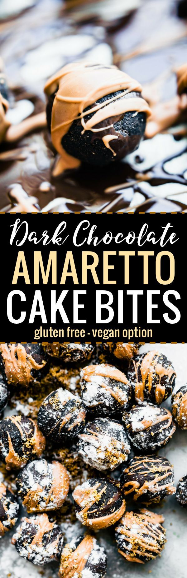 Dark Chocolate-Amaretto Cake Bites that require no baking and just a few simple ingredients. Perfect for the holidays and parties! This bite size dessert recipe is easy make non alcoholic, plus it's vegan friendly