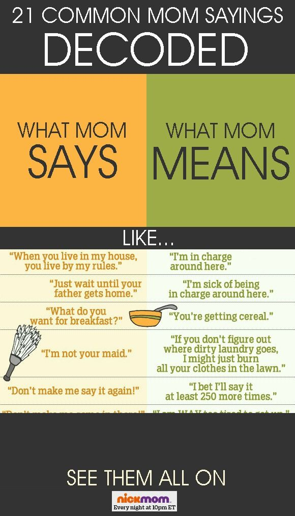 21 Common Mom Sayings Decoded parenting humor funny