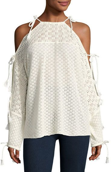 See by Chloe Tied Cotton Crochet Pullover Sweater, Cloud Dancer