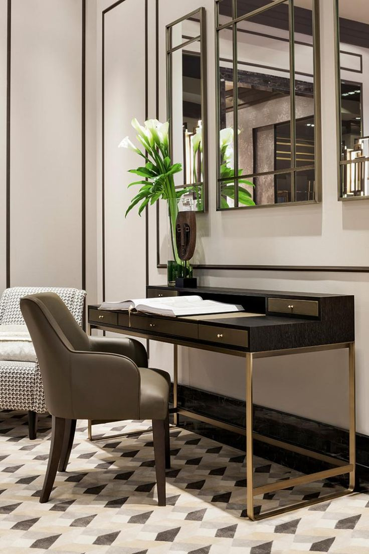 The console/desk Proust, by Oasis Home Collection, in a bronze and wood version, available with different materials and colors.