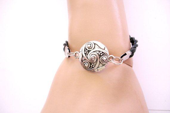 Silver Celtic Eternity Symbol & Black Hand Braided by TattooedRoZe