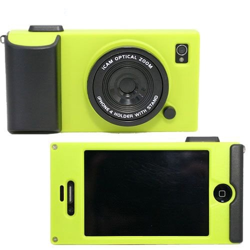 3D Vintage Style Camera Phone Case For iPhone 4 4S - Green Yellow, Halloween Gift