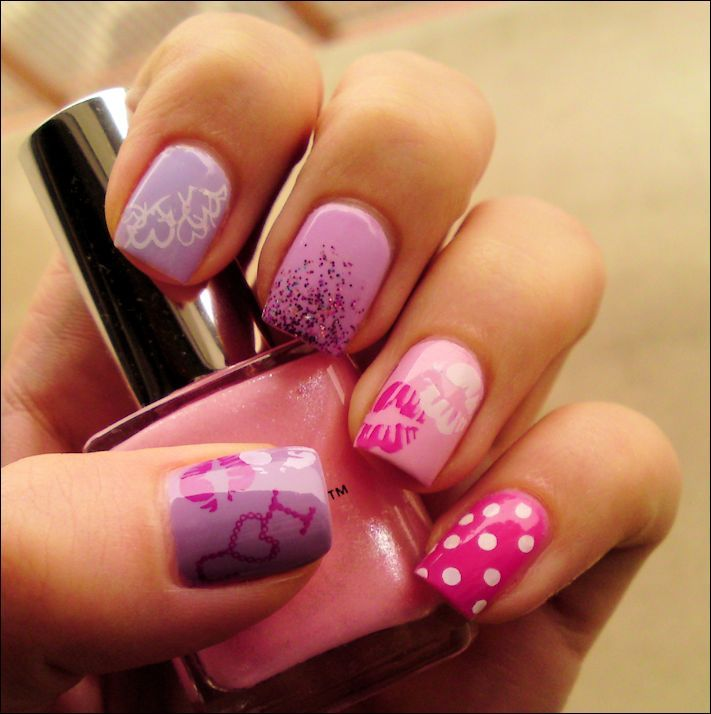 342 best Valentine Nail Art images on Pinterest | Enamels, Heart ...