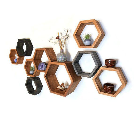 Wooden Floating Shelves - Honeycomb Cubby Shelf - OOAK - Geometric - Mid Century…