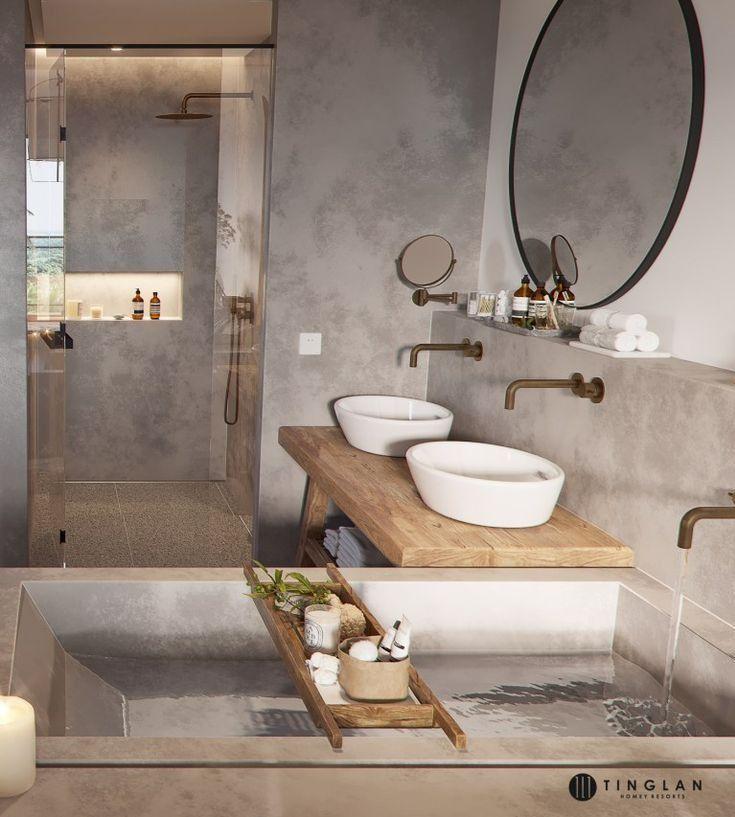 Jaren 30 badkamer inrichting met brons kleurig san…