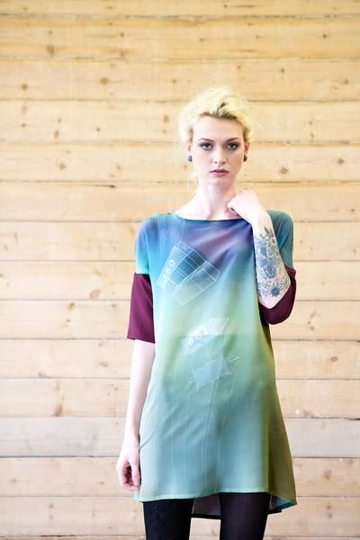 Digitally printed silk batman dress with dreamy Flying design by The Gently Unfurling Sneak. Sizes 8-16. Made in Australia.