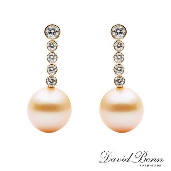 Golden Pearl and Diamond Drop Earrings
