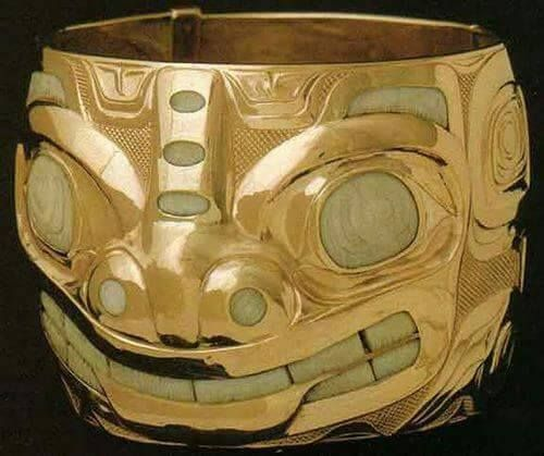 "gold and fossilized ivory bear bracelet""...bill reid...canadian pacific north coast artist..designer..sculptor...1920-1996... via John Cannell FB"