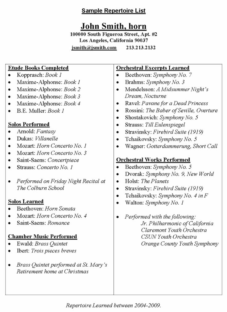 196 best Music - Education images on Pinterest Music ed, Music - Sample Music Resume