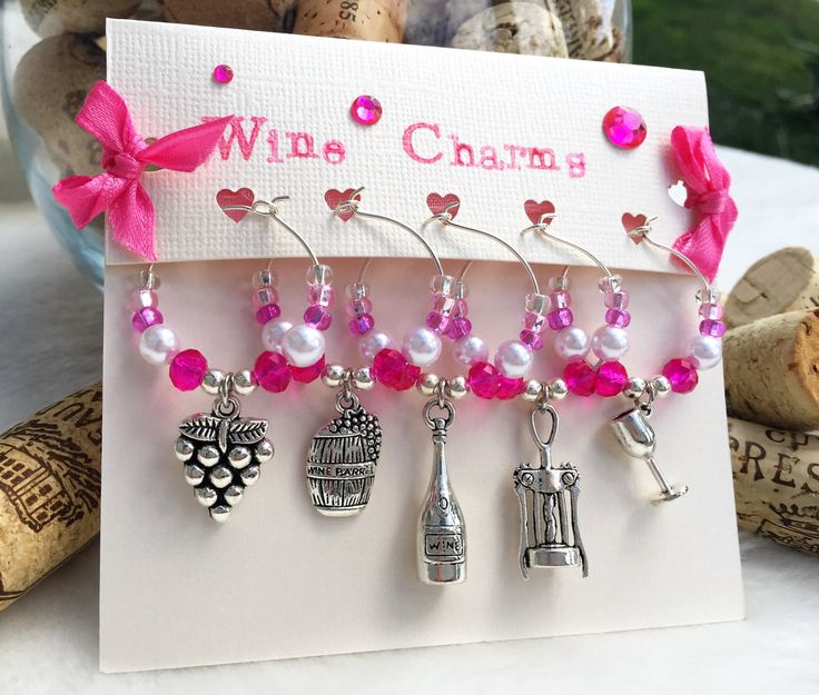 Wine Charms, Pink Wine Glass Charms, Set of 5, Wine Accessories, Girls Night, Wine Gift, Gift for Her, Hand-Made, LasmasCreations by LasmasCreations on Etsy