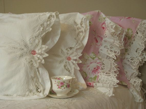 shabby chic rose pillow cases...one of a kind by MyThymeCreations, $65.00