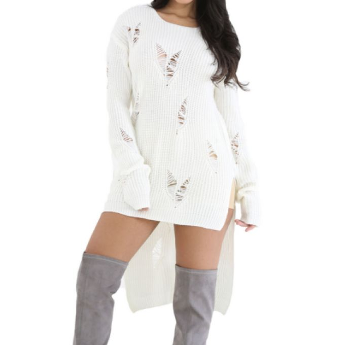 Long pull asymétrique tricoté & déchiré - bestyle29.com