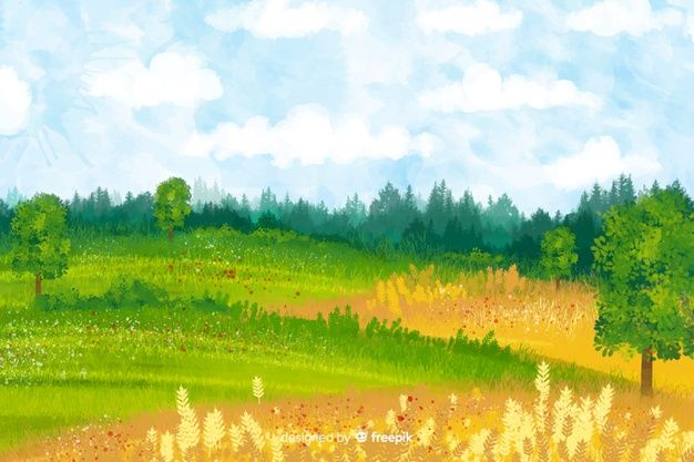 Download Watercolor Farm Landscape For Free In 2020 Vector Free Landscape Nature
