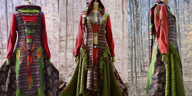 Свитер пальто в стиле Бохо Шик