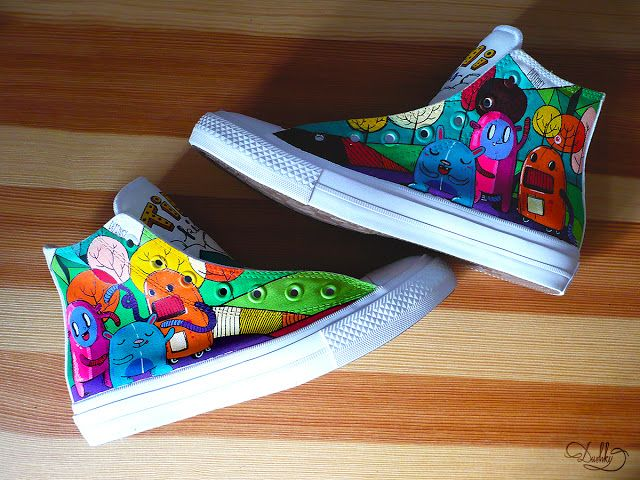 custom by dushky | #art #painting #custom #design #shoes #chucks #converse #chucktaylor #monster #color #customisation #handpainted #customshoes