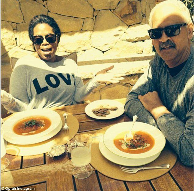 It's LOVE! Oprah Winfrey shared this blissful domestic scene, showing her with partner Stedman Graham enjoying an alfresco lunch