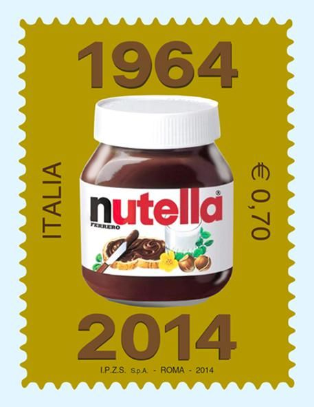 Nutella, the hazelnut cream known throughout the world, an icon of Ferrero and made in Italy . Italian Postage Stamp 2014, celebrates half a century.