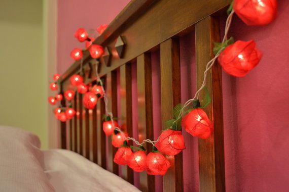 Wonderful White Rose Flower String Lights For Bedroom And Wedding Decoration .