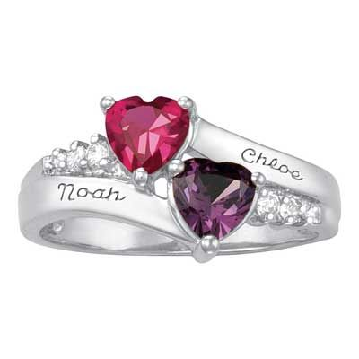 Zales: Sterling Silver Simulated Birthstone and Cubic Zirconia Couple's Sweetheart Ring by ArtCarved® (2 Stones and Names)