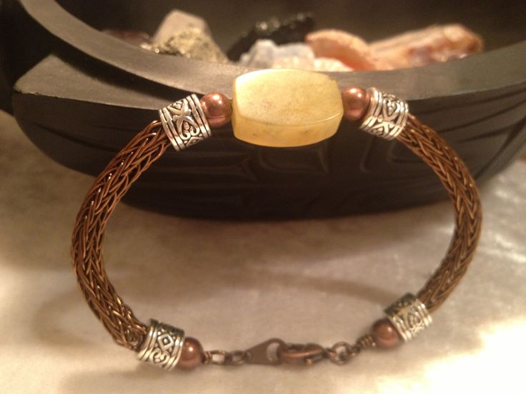 New Jade with a Viking weave bracelet. Augustus Stone and Wirework.