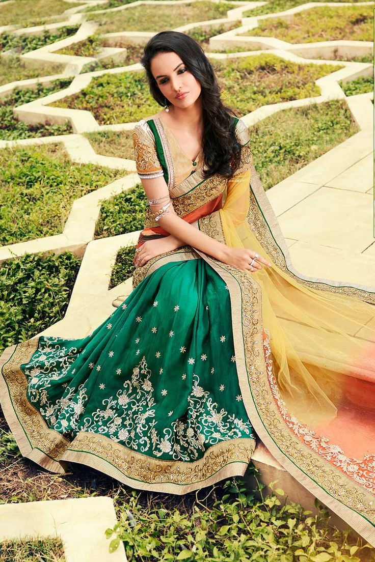 #AndaazFashion presents Peach green and yellow Chiffon and net Saree With Art silk Blouse  http://www.andaazfashion.fr/womens/sarees/peach-green-and-yellow-chiffon-and-net-saree-with-art-silk-blouse-dmv8420.html