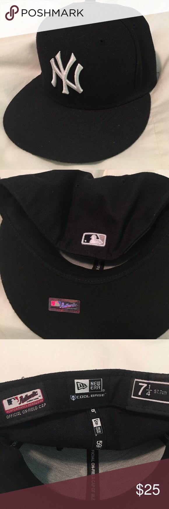 New York Yankees Hat Authentic NYY hat with sticker still on it. Flat rimmed hat.  Navy blue with white stitching.  In excellent condition. The official hat of MLB. New Era Accessories Hats