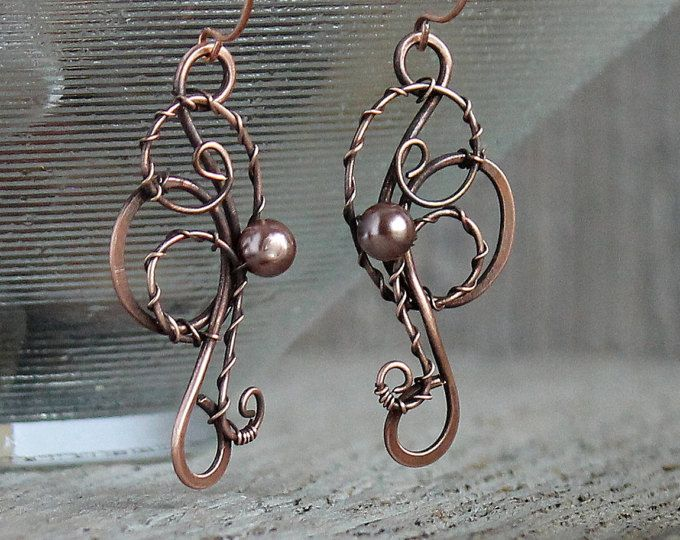 Wire Jewelry Wire Wrapped Earrings With Copper Pearl Swirl