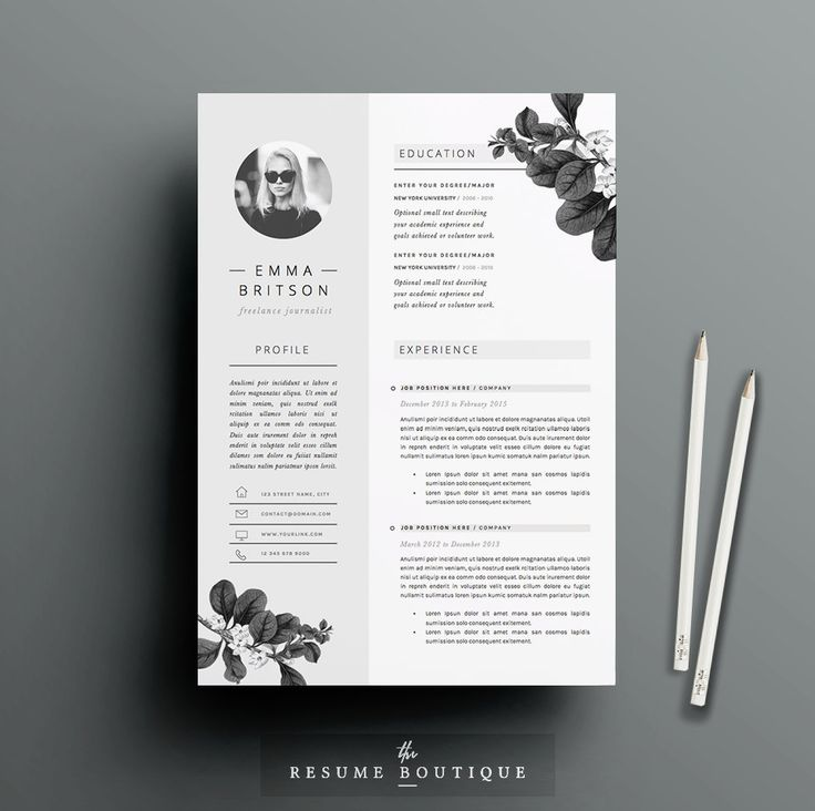 Resume Template 4page CV Template Cover par TheResumeBoutique