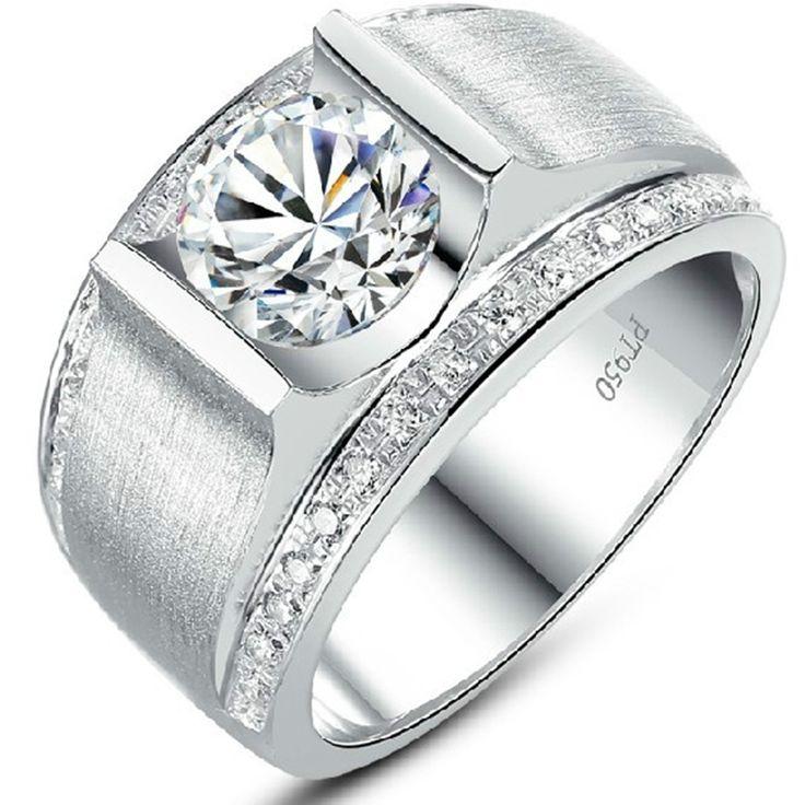 Kne Man Ring Synthetische Diamant 1 Ct Betrokkenheid Sterling Zilveren Voor De Mens Bruiloft Sieraden