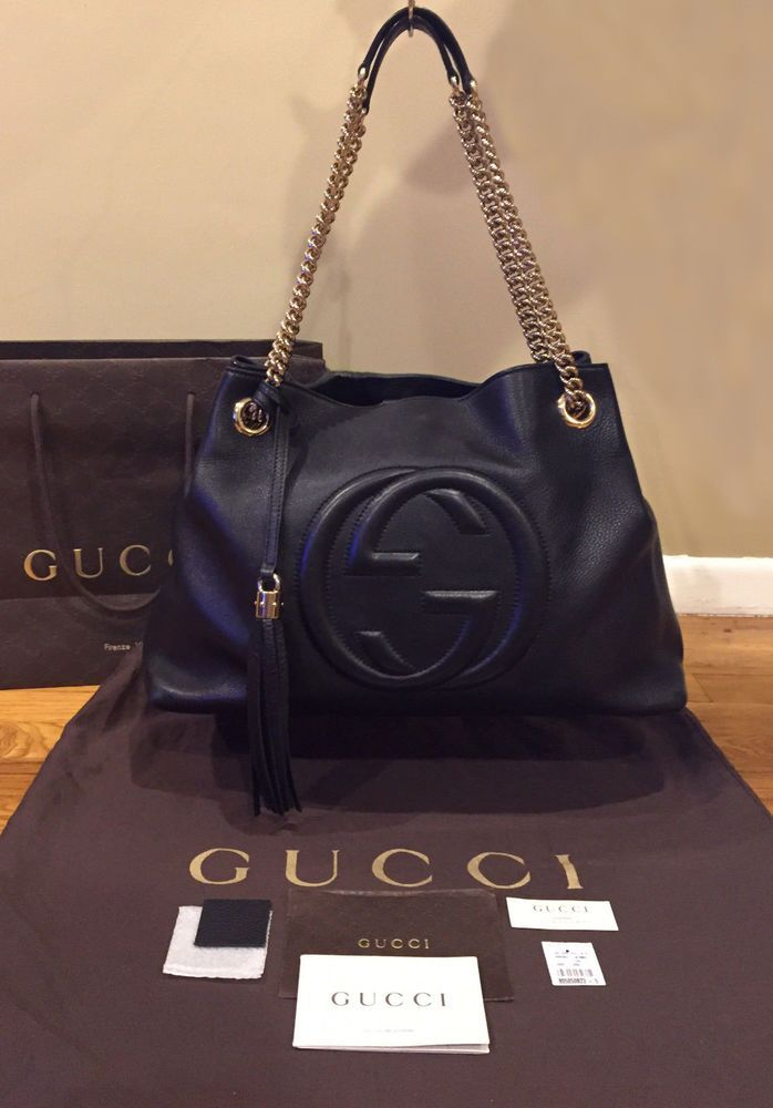 8ce5e26f6bc4ef Authentic* GUCCI Soho Chain Black Leather Shoulder Bag | Designer ...