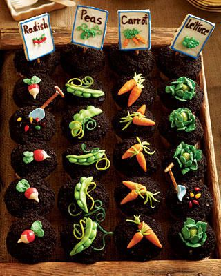 Hahaha, what cute little cupcakes! If only I was talented enough to be able to make those little veggie decorations.