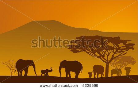 Silhouettes of elephants on backgrounds Kilimanjaro