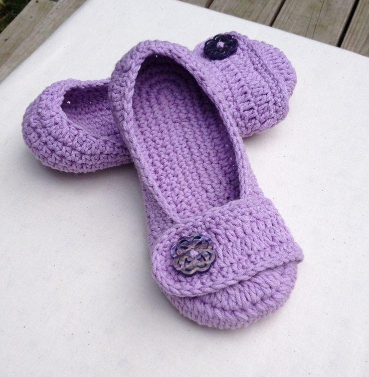 Women's Premium Crochet Slipper/Ballet Flat in Lilac, Wedding Flats, Purple Wedding Shoes, Wedding Shoes, Lilac Shoes, Crochet Wedding Shoes by StudioCbyE on Etsy