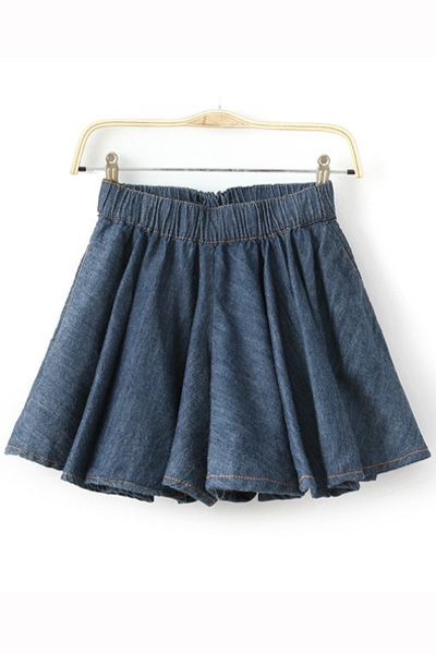 #persunmall Fashion Washed Denim Pleate Skirt