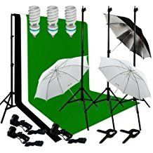 Ivationstudio Photography Lighting Kit Bundle with 10 Feet Background Support Muslin Backdrops and Accessories  Green Black and White ** Learn more by visiting the image link.
