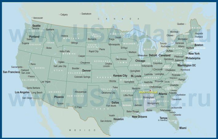 Карта США с городами