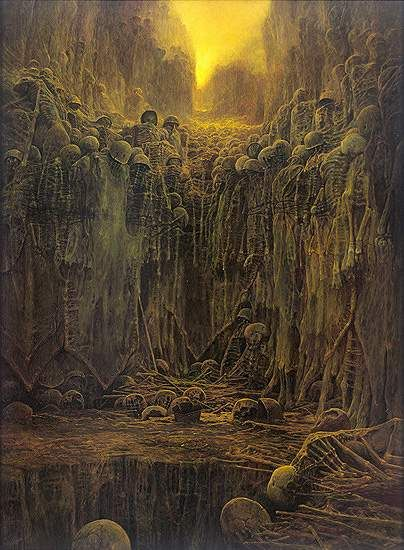 "homonculussensitif: """"Zdzisław Beksiński, Untitled, 1984, Oil on hardboard, 98 x 132 cm "" """