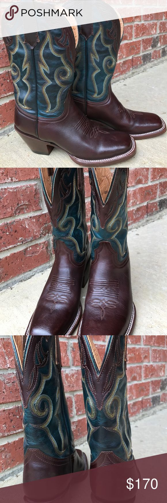 Stetson teal boots Beautiful chocolate brown, distressed dark turquoise/ teal, size 6 square toe leather bottom cowgirl boots, dancing style with rubber sole, like new. Original insoles. Sole still has full tread. Wore once or twice. Still has original sticker from factory. Stitching still white. Stetson Shoes Heeled Boots