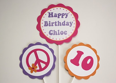 Pink Orange & Purple Peace Sign Birthday Party
