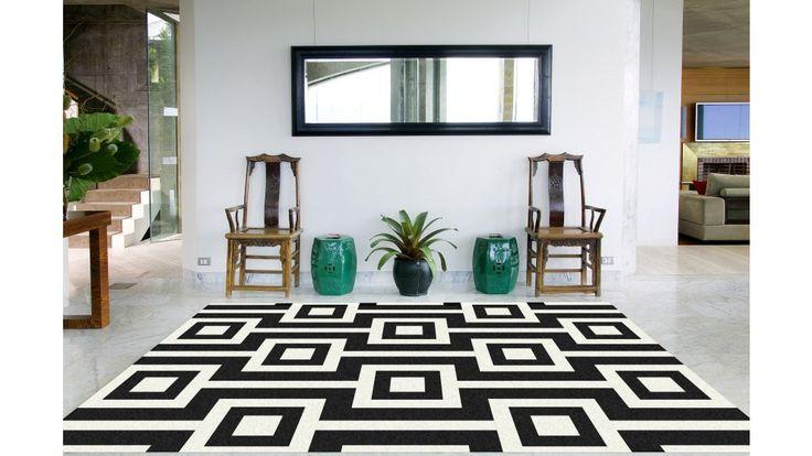 Zest Square Lines Black And White Medium Rug - Flooring - All Rugs - Carpet, Flooring & Rugs | Harvey Norman Australia