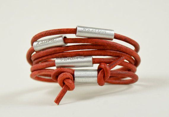Personalized engraved leather bracelet wrapped by TanjaBraun, €24.90