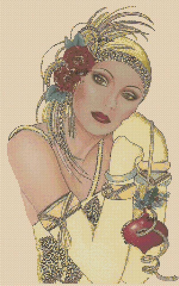 Amazing image is the creation of Flower Power37-UK......Cross stitch chart Art Deco Lady 44a