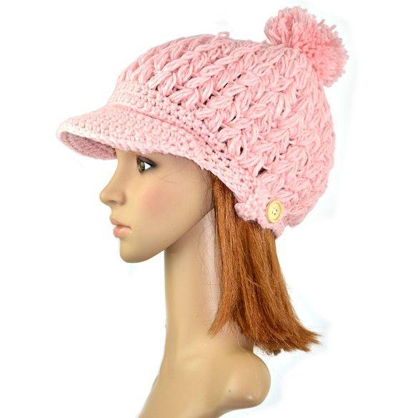 Women's Wool Winter Hat Thick line hat Ball Cute Hat Warm Flight Hat Peaked Cap