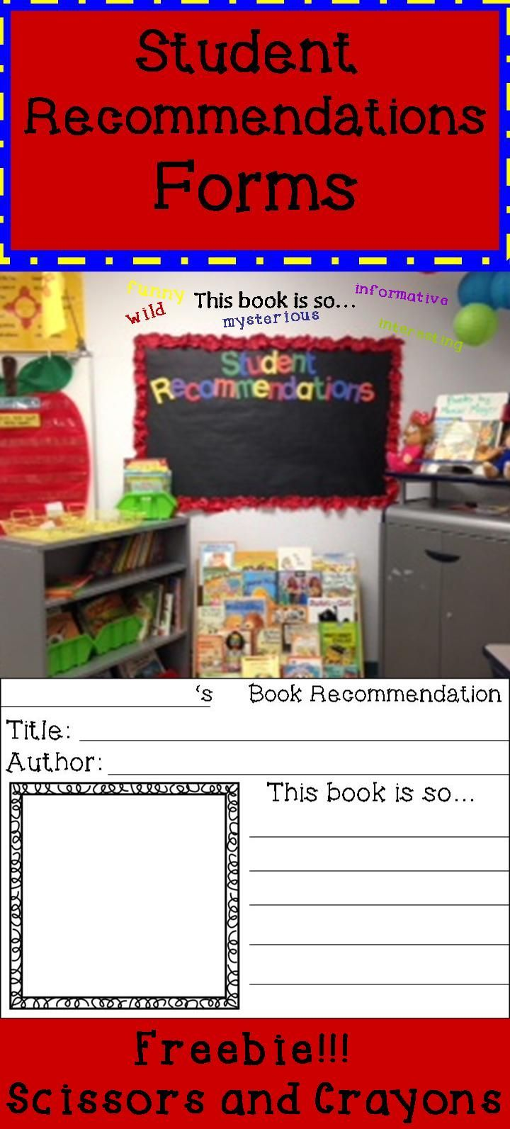 Freebie: Student Book Recommendations form to go on bulletin board. Students write title, author, book cover and complete sentence This book is so... #bulletinboard #reading