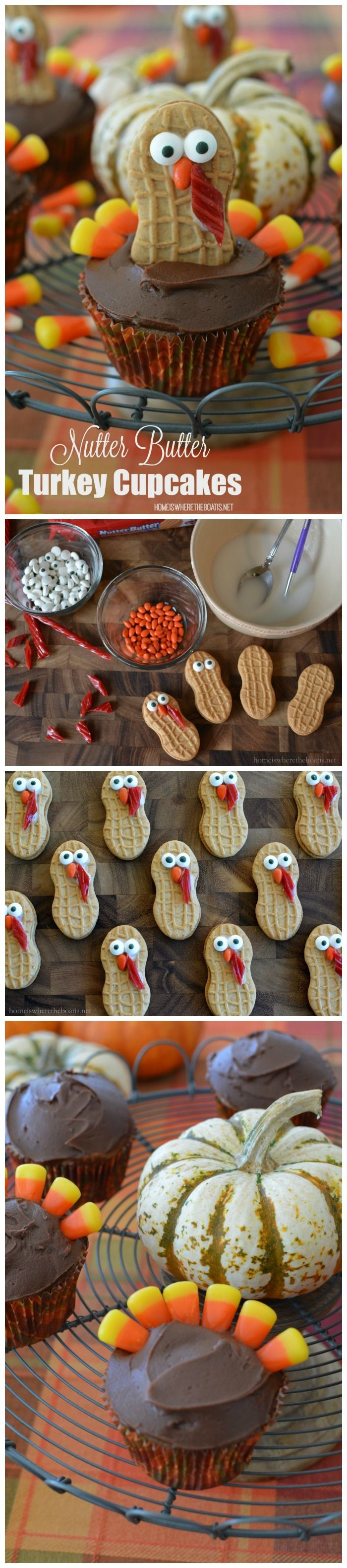 Won't these make adorable Thanksgiving desserts! Nutter Butter Turkey Cupcakes, as fun to make as they are to eat. (Candy Cake Kids)