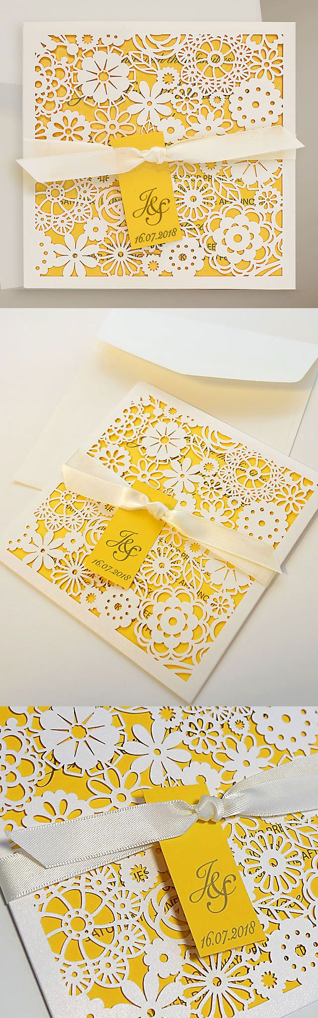 Charming yellow wedding invitations with laser cut floral wallet and tag