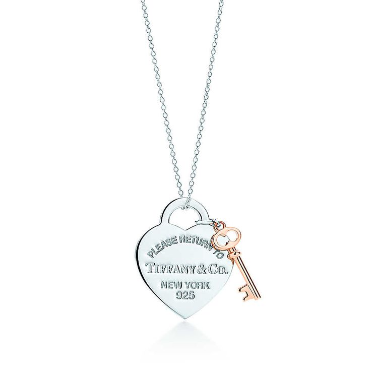 Return to Tiffany™ heart key pendant in silver and RUBEDO™ metal, medium. | Tiffany & Co.