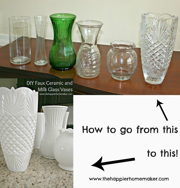 Learn how to take cheap dollar store vases and fake the look of high-end ceramic or vintage milk glass with this DIY milk glass tutorial!