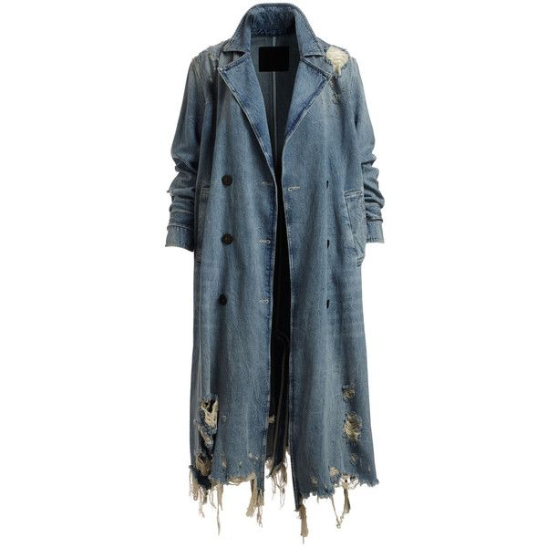 T by Alexander Wang Distressed Double-Breasted Trench Denim Coat (26,990 THB) ❤ liked on Polyvore featuring outerwear, coats, trench coats, blue double breasted coat, denim trenchcoat, blue trench coats and denim trench coat